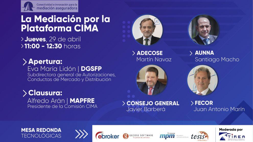 """El próximo jueves día 29 de abril, a las 11 h tendrá lugar el webinar """"La Mediación por la Plataforma CIMA"""""""